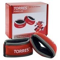 Утяжелители на запястье TORRES 0,5 кг красно-серый