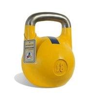 Гиря чемпионская Titan 18 кг (желтая с синей полосой)