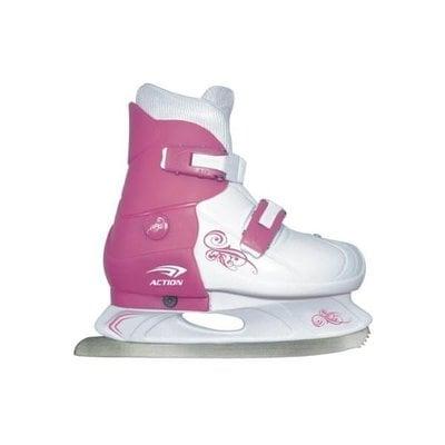 Покупка  Коньки ледовые раздвижные Action (розовый/белый) PW-219-1 р.37-40   в магазине IntexRelax с доставкой или самовывозом