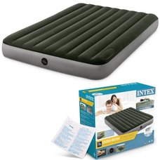 Двуспальный надувной матрас Intex 64763 Downy AirBed + насос (152х203х25см)
