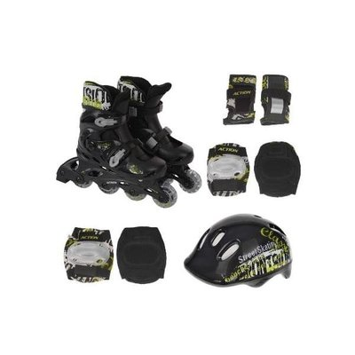 Покупка  Роликовые коньки Action PW-120B + защита, шлем р.31-34   в магазине IntexRelax с доставкой или самовывозом
