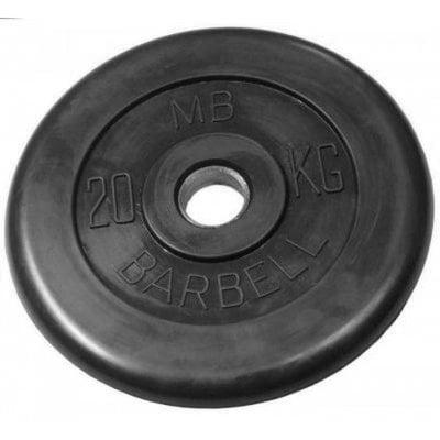 Покупка  Диск обрезиненный черный MB Barbell d-26 20 кг   в магазине IntexRelax с доставкой или самовывозом