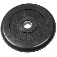 Диск обрезиненный черный MB Barbell d-26 25 кг