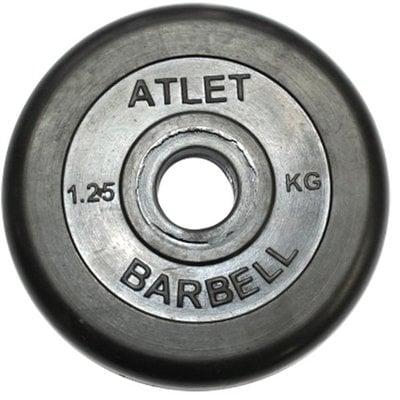 Покупка  Диск обрезиненный черный Atlet Barbell d-31 1.25 кг   в магазине IntexRelax с доставкой или самовывозом
