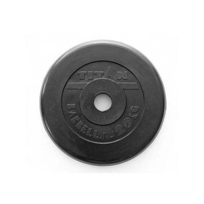 Покупка  Диск обрезиненный черный Titan Barbell d-51 20 кг   в магазине IntexRelax с доставкой или самовывозом