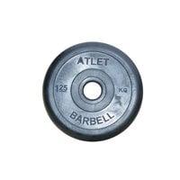 Диск обрезиненный черный Atlet Barbell d-26 1,25 кг
