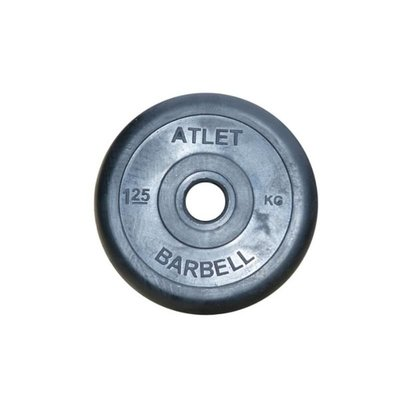 Покупка  Диск обрезиненный черный Atlet Barbell d-26 1,25 кг   в магазине IntexRelax с доставкой или самовывозом