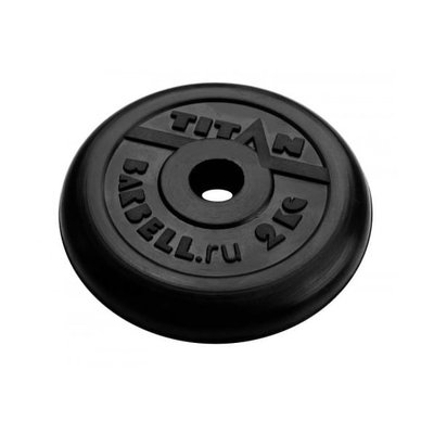 Покупка  Диск обрезиненный черный Titan Barbell d-26 2,0 кг   в магазине IntexRelax с доставкой или самовывозом