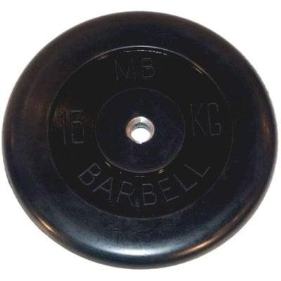 Покупка  Диск обрезиненный черный MB Barbell d-26 15 кг   в магазине IntexRelax с доставкой или самовывозом