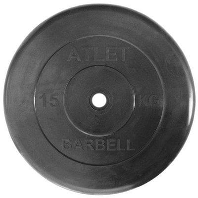 Покупка  Диск обрезиненный черный Atlet Barbell d-26 15 кг   в магазине IntexRelax с доставкой или самовывозом