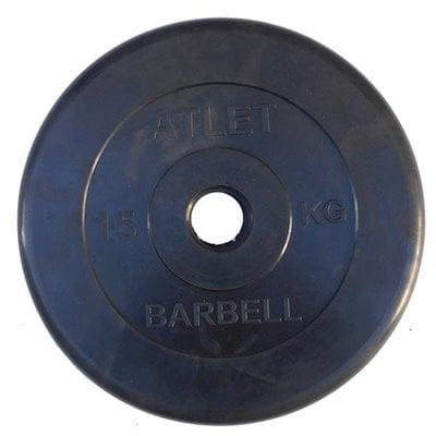 Покупка  Диск обрезиненный черный Atlet Barbell d-31 15 кг   в магазине IntexRelax с доставкой или самовывозом