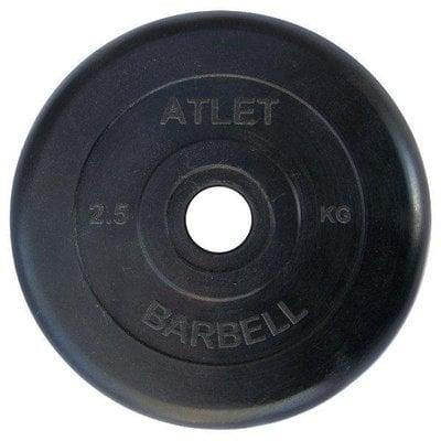 Покупка  Диск обрезиненный черный Atlet Barbell d-26 2,5 кг   в магазине IntexRelax с доставкой или самовывозом