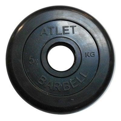 Покупка  Диск обрезиненный черный Atlet Barbell d-51 мм 5 кг   в магазине IntexRelax с доставкой или самовывозом