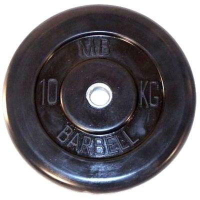 Покупка  Диск обрезиненный черный MB Barbell d-26 10 кг   в магазине IntexRelax с доставкой или самовывозом