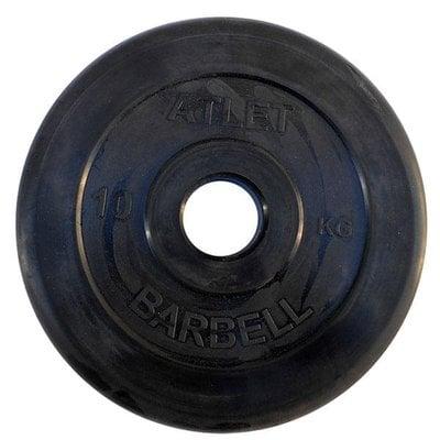 Покупка  Диск обрезиненный черный Atlet Barbell d-51 10 кг   в магазине IntexRelax с доставкой или самовывозом