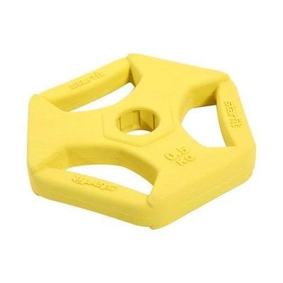 Покупка  Диск обрезиненный с хватами StarFit BB-205 d-26 мм (0,5 кг) жёлтый   в магазине IntexRelax с доставкой или самовывозом