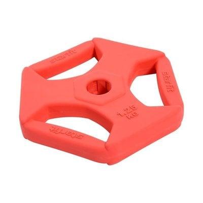 Покупка  Диск обрезиненный с хватами StarFit BB-205 d-26 мм (1,25 кг) красный   в магазине IntexRelax с доставкой или самовывозом