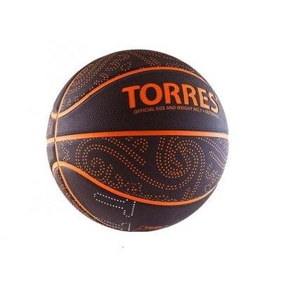 Покупка  Мяч баскетбольный TORRES TT р.7, резина, бордово-оранжевый   в магазине IntexRelax с доставкой или самовывозом