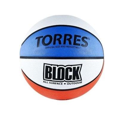 Покупка  Мяч баскетбольный TORRES Block р.7 резина, бело-сине-красный   в магазине IntexRelax с доставкой или самовывозом