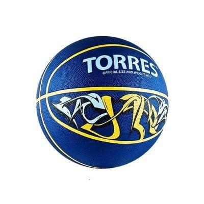 Покупка  Мяч баскетбольный TORRES Jam р.7 резина, сине-желто-голубой   в магазине IntexRelax с доставкой или самовывозом